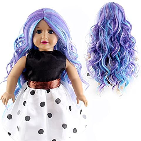 Stfantasy American Girl Doll Wigs Extra Long Curly Heat Resistant Synthetic Hair 18 Inch 150g BJD SD Doll Bang Wig Peluca, Purple Blue
