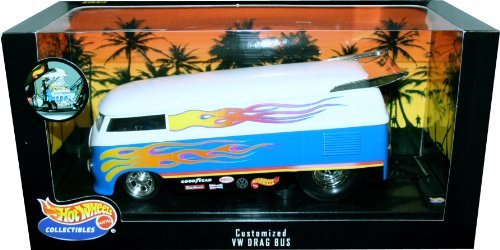 CUSTOMIZED VW DRAG BUS * White & Blue * 1:18 Scale Hot Wheels Collectibles Deluxe Vehicle & Display Base