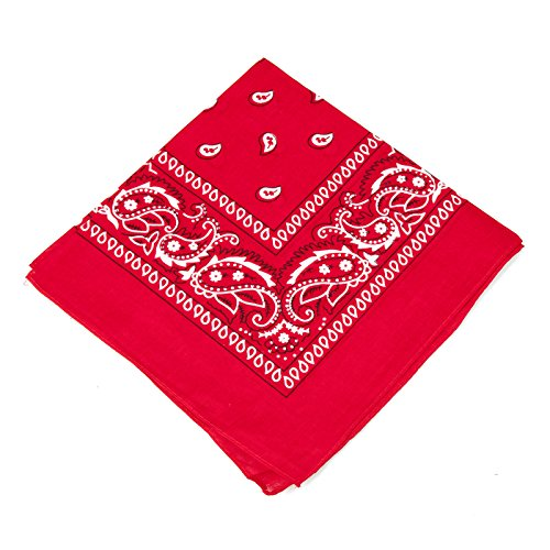 Boolavard Nationale Baumwolle Paisley Bandana Doppelseitige Leiter Verpackungs-Schal-Armband (Rot) -