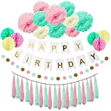 HappyHours Birthday Deko Geburtstag, Birthday Girlande Jungen, Mächen Decorations, 38 Stücks Deko Set Geburtstag Mint