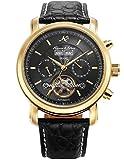 KS Herren Armbanduhr Uhren für männer Automatische Mechanische Edelstahl Leder Armband Lederband Tourbillon Uhr Geschenbox Schwarze KS369