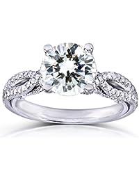 Forever Classic redondo Moissanite anillo de compromiso de diamantes y 11/3CTW 14K oro blanco _ 5.0