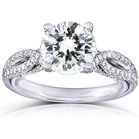 Forever Classic redondo Moissanite anillo de compromiso de diamantes y 11/3CTW 14K oro blanco _