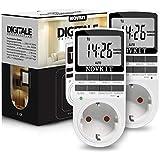 NOVKIT 2x Digitale Zeitschaltuhr Steckdose mit 10 konfigurierbaren wöchentlichen Schaltprogramme und einbruchsicheren Zufallsschaltung (16A / 3680W)