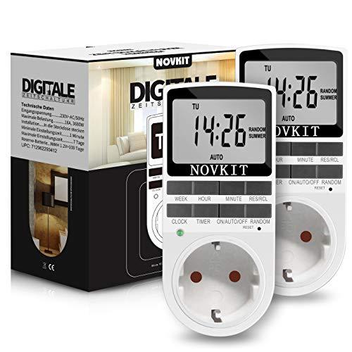 2x NOVKIT Digitale Zeitschaltuhr Steckdose mit 10 konfigurierbaren Schaltprogramme und einbruchsicheren Zufallsfunktion (16A / 3680W)