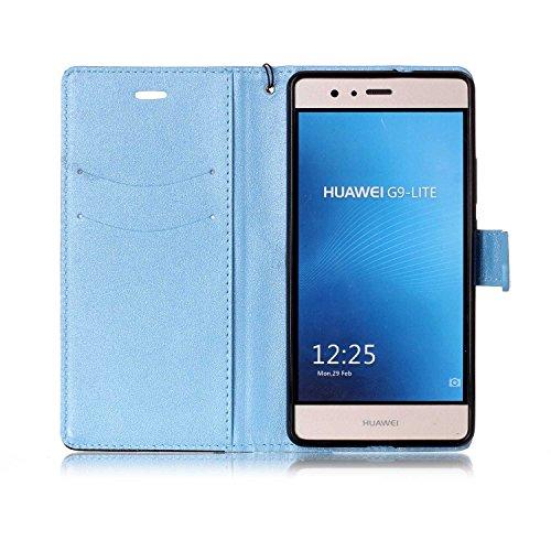 Coque Huawei P9 Lite, Aeeque® Housse Étui en PU Cuir Bumper Flip Cover Bookstyle Support Cartes Slots Joli Fleur de Paon Bleu Ultra Mince Léger Fermeture Aimantée Étui pour Huawei P9 Lite Motif #8