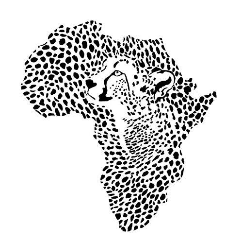 Wandaufkleber Wandtattoo African Wild Leopard Karte Lion Kinderzimmer Wanddekoration Vinyl Aufkleber Abnehmbare Fertige Größe 63X59Cm -