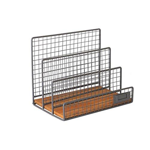 YUAN Metalldraht hängende Magazin-Datei Halter Bin 3 Slot Desktop-Speicher-Organisator-Gestell-Stand an der Wand befestigt mit Tafel Label
