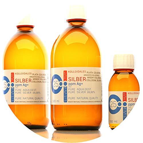 1100ml Plata coloidal PureSilverH2O / 2 x Botellas (cada 500ml/25ppm) Plata coloidal + botella (100ml/25ppm) - 99,99% de plata pura - la mejor calidad - Made in Germany preisvergleich