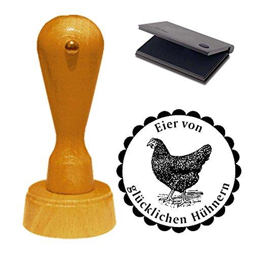 Stempel « EIER VON GLÜCKLICHEN HÜHNERN » ca. Ø 40 mm - Motivstempel mit Kissen Eier Huhn Ei Hühnerhof 05