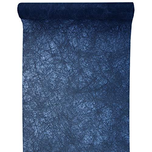 PARTY DISCOUNT® Tischläufer Faseroptik Marine Blau, 30cm x 5m