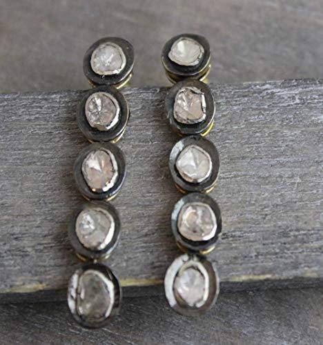 Diamant oxidiert vergoldet Sterling Silber Post Ohrringe