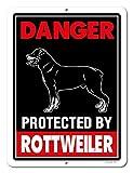 Honey Dew Gifts Rottweiler Schild Gefahr durch Rottweiler 22,9x 30,5cm Vorsicht vor Hund Achtung Metall Aluminium Blechschild, Beware of Dog Zeichen für Zaun