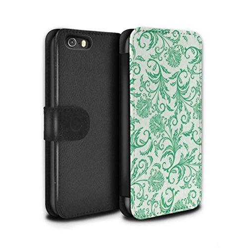 Stuff4 Coque/Etui/Housse Cuir PU Case/Cover pour Apple iPhone SE / Pack (10 modèles) Design / Fleurs Collection Fleurs Vertes