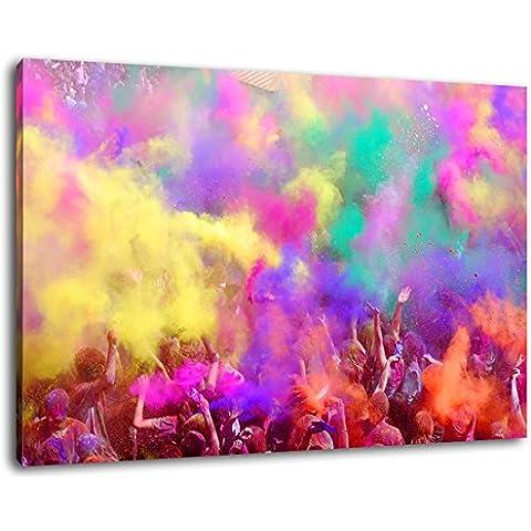 Festival de Holi, Gran fiesta de color, Tamaño: 100x70 cm pintura, en cubiertas de lona, ??imágenes enormes XXL plena y completamente enmarcadas con camilla, Láminas en cuadro de la pared con el marco, más barato que la pintura o la fotografía, no hay carteles o póster