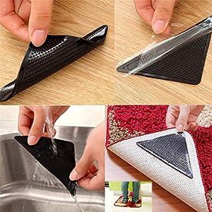 WLYZX 4 Stück Hausplan Teppich Teppich Mat Anti Slip Gripzangen Aufkleber Tri Adhesive Wiederverwendbare waschbar Silikon Aufkleber Pad