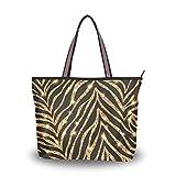 Ahomy Große Reisetasche, Goldenes Zebra-Muster, Strandtasche, Urlaub, Einkaufen, Handtaschen,...