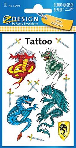 Avery Zweckform 56404 Kinder Tattoos Drachen (temporäre Transferfolie, dermatologisch getestet) 11 Aufkleber (Drache Temporäre Tattoo)