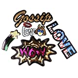 #9: Segolike 5pcs Mixed Shape Sequins Sew On Patch Badge Embroidered Cloth Fabric Applique DIY