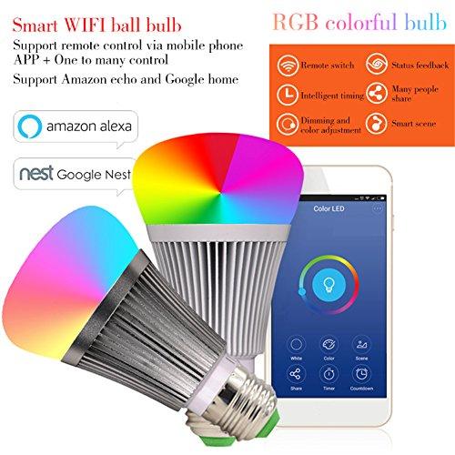Molie Smart Lampe 7W RGB Glühbirne Led Wifi Lampen Dimmbar E27 Wlan Lampe mit Amazon Alexa,Google Home,Steuerbar via App - 2
