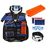 Womdee Kids Tactical Vest Kit for Nerf Guns for Boys N-Strike Elite Series with 20 Refill Darts, Dart Pouch, Reload Clips, Tactical Mask, Wrist Band and Protective Glasses for Boys Kids