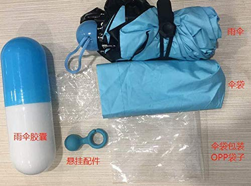 NASUM Mini Paraguas Plegable, Paraguas Portátil en Forma de Cápsula, Paraguas de Viaje Ligero Compacto Plegable Doble Capa Bloqueador Solar,...