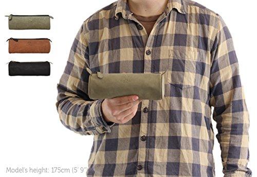 Gusti Leder studio porta penne portacolori astucciouniversità ufficio vintage vera pelle di bufalo unisex nero 2S4-22-6