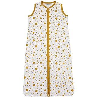 Meyco 412913 – Saco de dormir para verano (110 cm, sin forro, 100% algodón, 12-36 meses), diseño de puntos, color blanco y amarillo