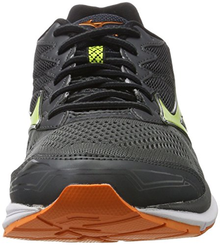 Mizuno Wave Rider, Chaussures de Course Homme Multicolore (Darkshadow/limepunch/vibrantorange)