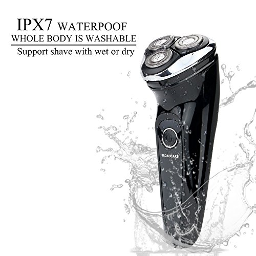 BROADCARE IPX7 Waterproof Electric Shaver USB Rechargeable Men's 360 Rotary Cordless Electric Shaving Razors Wet and Dry for Men – Black