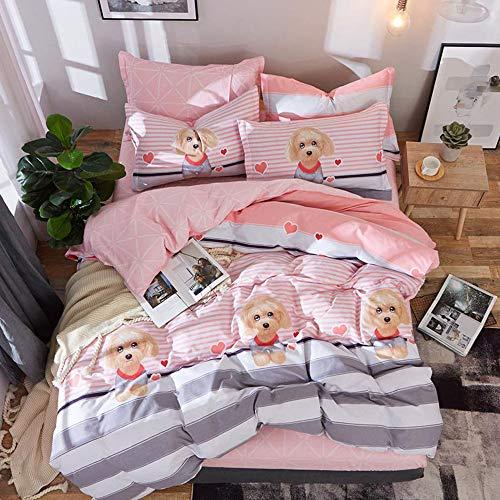 CPDZ 4-teilig Bedruckte Königin, Bettbezug-Set mit 2 Kopfkissen-Shams-Bettbezug-Bettbezug 4-teiliges Set Rosa, Druck, Stickerei - König,Beige,XL (Bettwäsche-daunendecke-abdeckung)