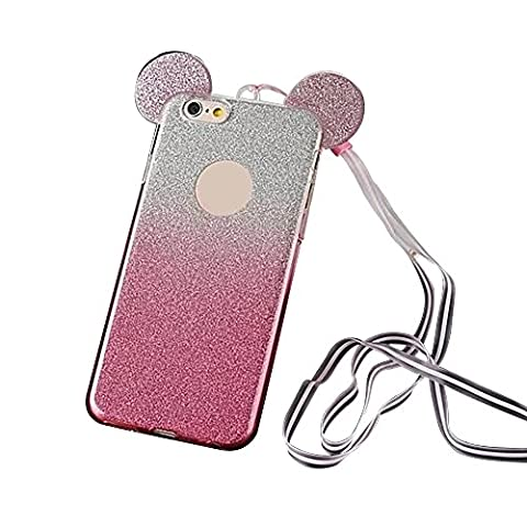Bling TPU Coque pour Apple iPhone 5 5S SE - Aohro Glitter Bling Oreilles Mouse Ears Etui Housse Back Skin Case Cover avec Lanyard Strap, Gradient Hot