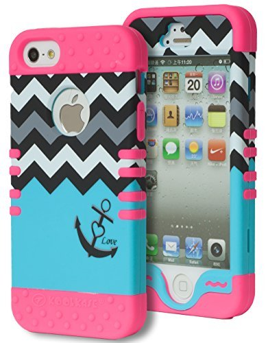 iPhone 5 Fall, Bastex Heavy Duty Hybrid Case - Weiches Hot Pink Silikon Cover Hard Weiß & Grau & Schwarz Chevron Top Sky Blue Love Anker Unten Design Schutzhülle für iPhone 5, 5S, 5. Generation (Iphone 5s-schwarz Virgin Mobile)