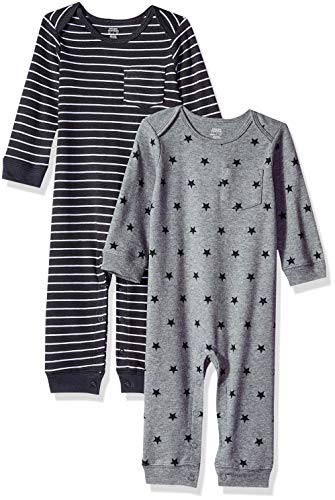 Amazon Essentials Baby-Overall, 2er-Pack, Uni Star Stripe Neutral, US 18M (EU 80-86)