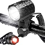 Bike Lights Set,USB Rechargeable Bicycle Lights,Led Bike Lights Front and Back Set,Water-Resistant,1200 Lumens