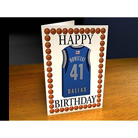 Tarjetas de felicitación–diseño de NBA baloncesto Jersey personalizado tarjeta de cumpleaños–cualquier nombre, cualquier número, cualquier equipo., hombre mujer Infantil, Dallas Mavericks NBA Basketball Greeting Card