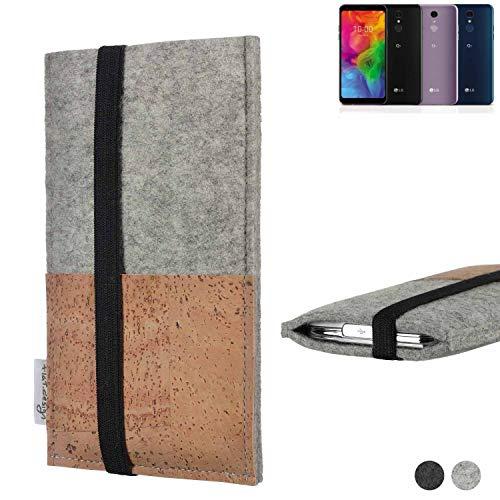 flat.design Handy Hülle Sintra für LG Electronics Q7 Alfa Handytasche Filz Tasche Schutz Kartenfach Case Kork