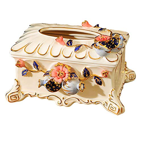 YZQ Keramik Tissue Box Cover Halter für Wohnzimmer Schlafzimmer, Aufbewahrungsbox Küche Gesicht Handtuch Serviettenhalter/Weiß / 26cm x 9,5cm x 16,5cm (Keramik Tissue Box Cover)