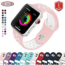 Bracelet Apple Watch,FunBand® 38mm Apple Watch en Sport de Doux Silicone Souple Strap Wrist Band Replacement avec des Trous Respirants pour Nike + Style Apple Watch Serie 3,Serie 2,Serie 1 (Rose-Blanc)