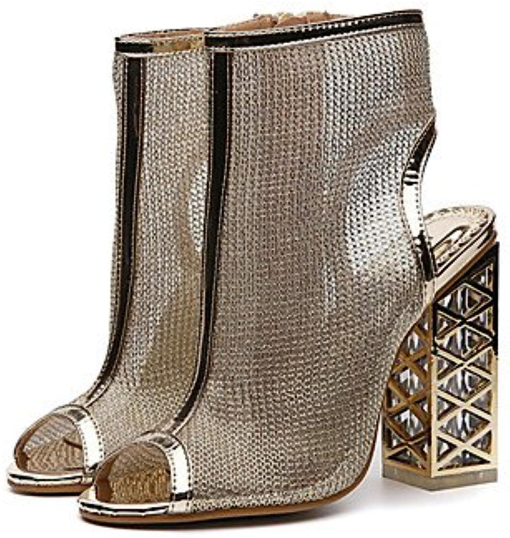 FSCHOOLY Womens Shoes Polipiel Primavera Verano Comodidad Novedad Botas Moda Sandalias De Tacón De Cristal Para... -
