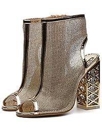 FSCHOOLY Womens Shoes Polipiel Primavera Verano Comodidad Novedad Botas Moda Sandalias De Tacón De Cristal Para...