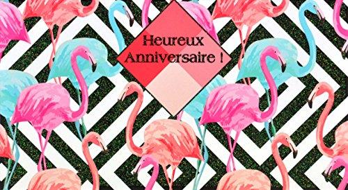 Afie 69-4203Karte glücklich Geburtstag Pailletten Flamingo blau Raute Muster Quadratisch Grafik Geometrische Trend Sommer Feier glänzend Sommer-editor