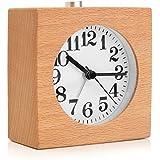 Baban Réveil en Bois Alarme de Sourdine Horloge, Nuit, Lumière Cloche D'alarme Forme Carree Cadeau idéal 9.5 * 9.5 * 4.8CM couleur du bois