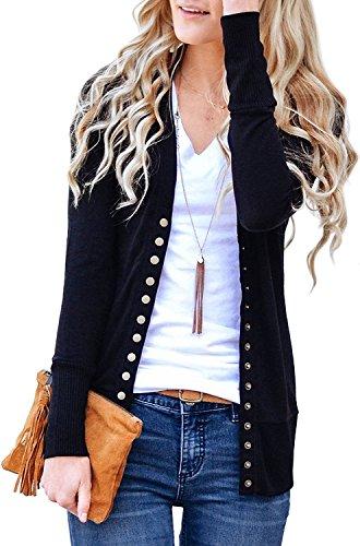 Cnfio Damen strickjacke Casual Cardigan Langarm Knopf V-Ausschnitt Outwear Mantel Winter schwarz XL