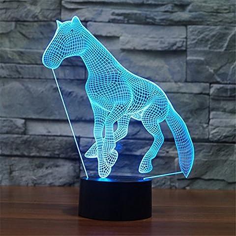 Creative Cheval lumière de nuit 3D, FZAI Amazing illusion optique 7 couleurs enfants chambre à coucher table Lampes de bureau Touch Switch Great Gifts