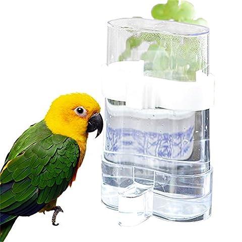 HUUATION Pet Bird Supplies Pet Bird Feeders Bird Parrot Water Dispenser with Automatic Feeding Device White