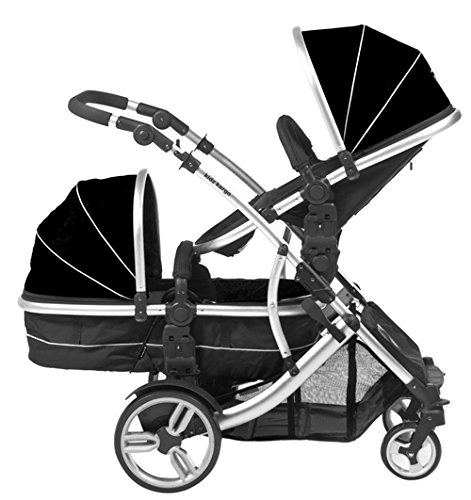 Duellette 21 BS combi Double Pushchair Twin Tandem complete carrycot/converts to seat unit. Free rain covers and 2 free Black footmuffs. Midnight Black by Kids Kargo Kids Kargo Demo video please see link https://www.youtube.com/watch?v=5L8eKWGqoso Various seat positions. Accommodates 1 or 2 car seats Carrycot converts to seat unit incl mattress. Toddler seat from 6 months 3