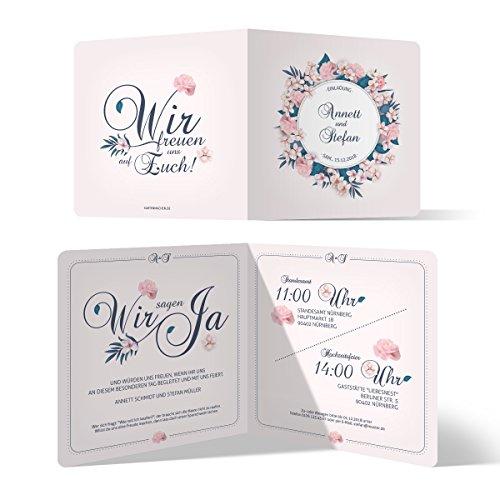 20 x Hochzeitseinladungen Einladungskarten Hochzeit Einladung individuell - Blumen Romantik