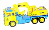 #8: Vibgyor Vibes™ Big Size Construction Truck Carrying a JCB on Unit with Drivers. Friction Toy- No Batteries Required
