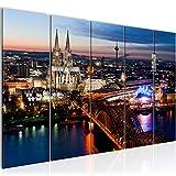 Bilder Köln Wandbild 200 x 80 cm Vlies - Leinwand Bild XXL Format Wandbilder Wohnzimmer Wohnung Deko Kunstdrucke Blau 5 Teilig - MADE IN GERMANY - Fertig zum Aufhängen 601555a